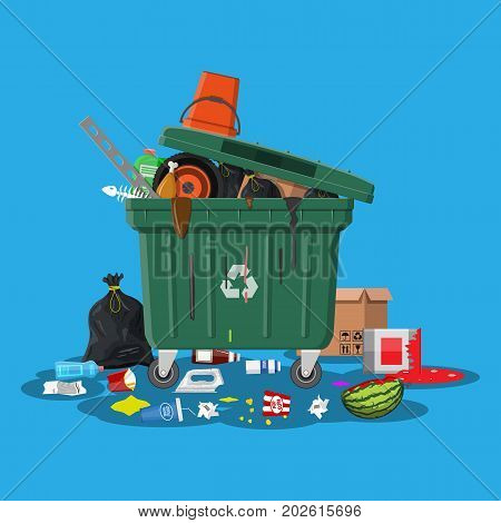 Plastic garbage bin full of trash. Overflowing garbage, food, rotten fruit, papers, containers and glass. Garbage recycling and utilization equipment. Waste management Vector illustration in flat style poster