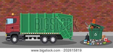 Truck for transportation garbage. Car waste disposal. Can container, bag and bucket for garbage. Recycling and utilization equipment. Street. Vector illustration in flat style