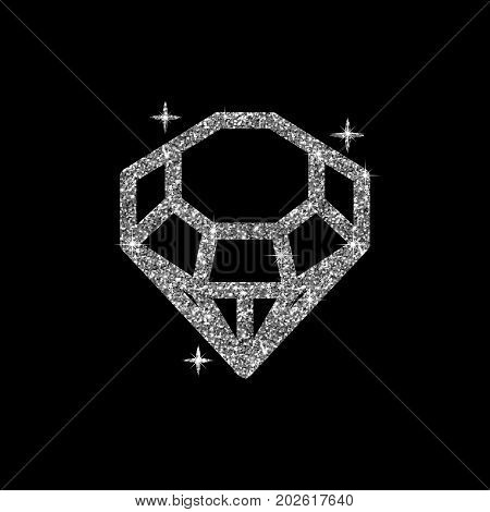 Diamond Glitter Vector Illustration. Shiny Crystal Sign. Brilliant Stone Isolated On Dark Background