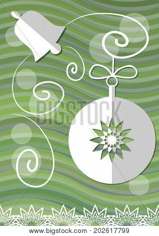 Christmas decoration with paper cut xmas symbols on green wavy background christmas ball bell vector EPS 10