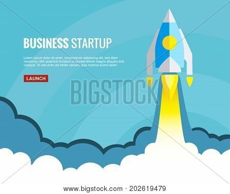 Rocket launch illustration. Concept of successful business start or new innovation product launch. Start up template in flat style. Startup symbol with space for text