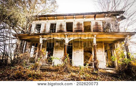 Haunted house deep in the thick woods