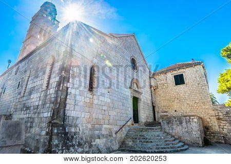 View at old monastery in town Hvar, popular tourist landmark in Croatia, Europe.