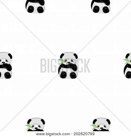 Cute panda.Too cute animal. Super cute cartoon panda. Seamless pattern with chinese panda. Vector flat background.