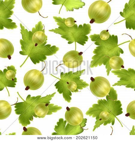 Beautiful seamless pattern with 3d realistic green gooseberry on a white background. Seamless pattern with 3d mesh green gooseberry. Vector illustration.