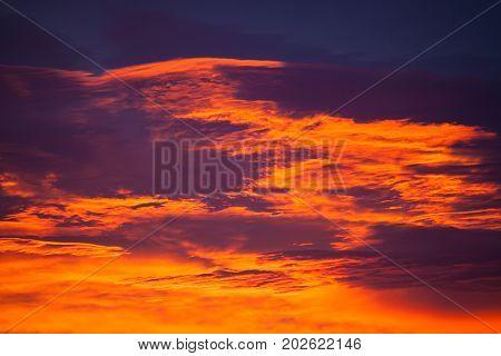 Colorful cloudscape at sunrise, no land visible