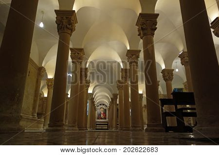 LECCE ITALY - JULY 27 2017: the Crypt under Duomo dell Assunta ancient Cathedral in the Historical Town center