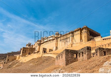 Upward picture of the amazing colorful Amber Fort located in Jaipur the pink city of India.