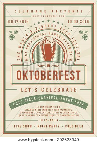 Oktoberfest beer festival celebration poster or flyer template retro typography. Oktoberfest Badge or Logo Retro Vector illustration.