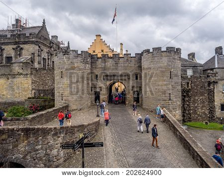 STIRLING, SCOTLAND: JULY 23: Exterior walls and fortifications at Stirling Castle on July 23, 2017 at Stirling, Scotland. Stirling Castle is one of the most famous castles in Scotland.