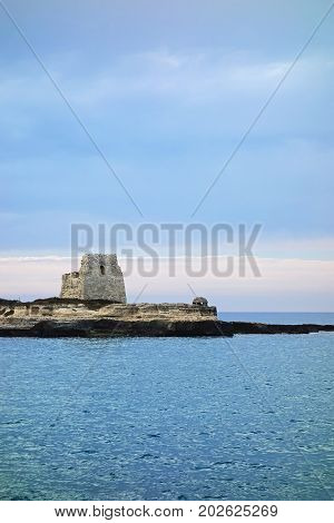 abandoned Watch tower over adriatic sea Roca Veccha Italy