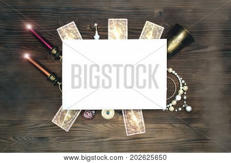 Fortune teller table creative magic layout. Witchcraft flatlay with copy space.
