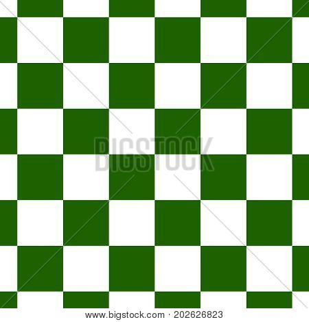 Chessboard or checker board seamless pattern in green and white. Checkered board for chess or checkers game texture with squares. Checkerboard background.