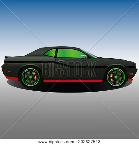 Old muscle car with a black body and green hubcaps