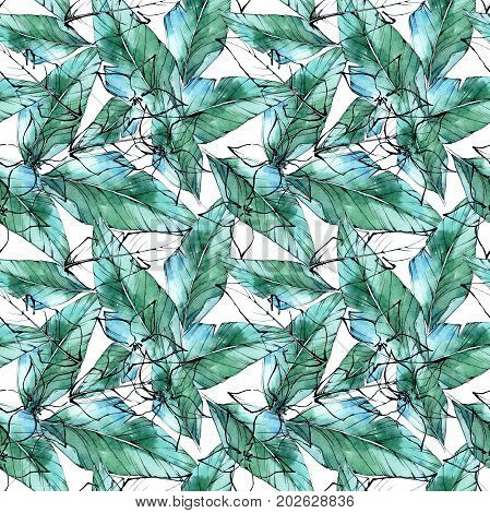 Tropical plants  pattern in a watercolor style. Aquarelle wild flower for background, texture, wrapper pattern, frame or border.