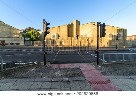 Northampton, UK - Aug 10, 2017: Clear Sky morning view of Northampton Crown Courts Building in Town Centre.