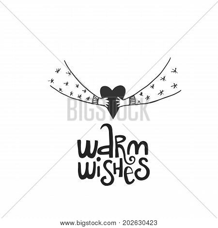 Warm Wishes Lettering With Heart In Hands. Hand Drawn Christmas Lettering. Cute New Year Phrase. Vec