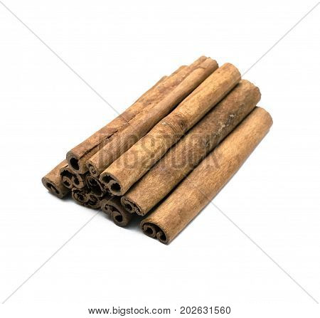Cinnamon isolated on white backgound. Cinnamon sticks.