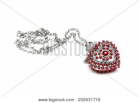 Necklace phial heart shape isolated on white background.