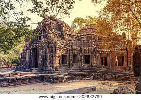 Ruins of Angkor Wat part of Khmer temple complex Asia. Siem Reap Cambodia. Ancient Khmer architecture in jungle.