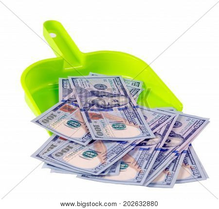hundred dollar bills in a scoop top view isolated on a white background