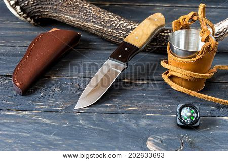 Knife for cutting meat. Hunter and tourist accessories. Hunter accessories.