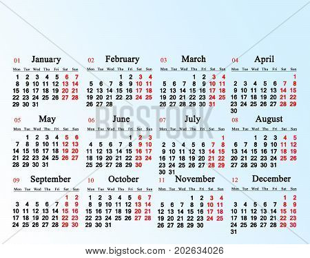 calendar for 2018 on the white and light blue gradient background
