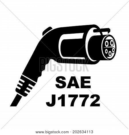 Real plug for charging car from 5 pins. International standart for plugs put in battery for charge electric car vector illustration. Icon for web and print designr.