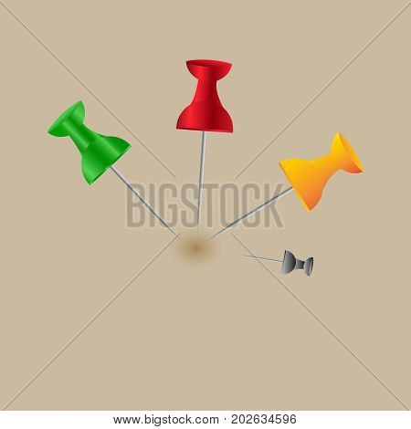 Collection Of Various Red Push Pins. Thumbtacks. Top View. Isolated On White Background. Set. Front