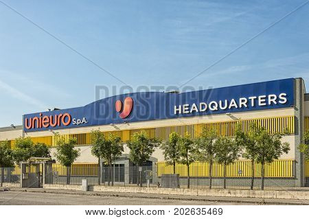 Forli Italy - JULY 10 2017: Unieuro Headquaters store in Forli. Unieuro is the largest Italian omni-channel distributor of consumer electronics and household appliances by number of outlets in Italy