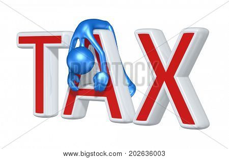 Slumped Over Tax Concept With The Original 3D Character Illustration