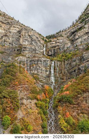 scenic bridal veil falls in Provo canyon Utah in autumn
