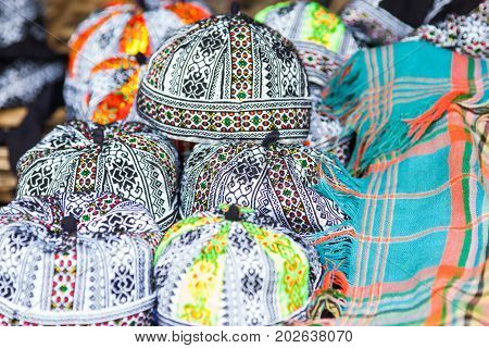 handmade clothes with Hmong ethnic patterns. Hmong are an ethnic group from the mountain regions of China, Vietnam, and Thailand.