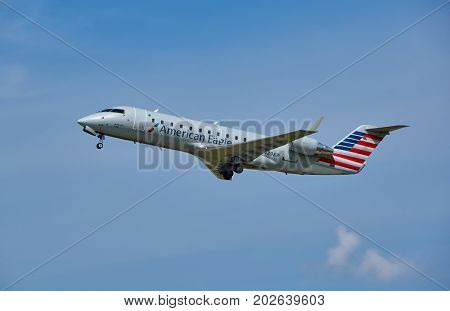 MONTREAL CANADA - AUGUST 28 2017 : American Eagle airplane taking off. American Eagle is an American brand name for the regional branch of American Airlines