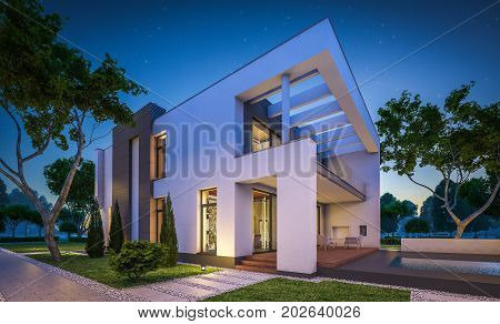 3D Rendering Of Modern House At Night