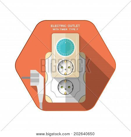 Vector isolated icon of white electric plug type F timer with outlet and mechanical ring turquoise switch insert in socket on the red hexagon background with shadow for use in Europe.