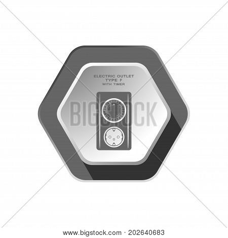 Electric outlet with mechanical timer type F with ring switch dark gray silhouette vector icon with shadow on the hexagon background.