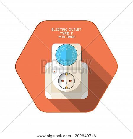 Vector isolated icon of electric mechanical timer type F with blue ring insert in outlet on the red hexagon background with shadow for use in Europe.
