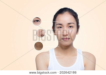 Skincare And Health Concept - Beautiful Young Woman Face With Wrinkles Over Circles For Advertising