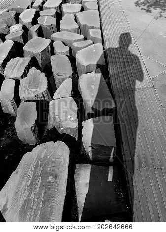 Pedestrian Street Stones And Man Shadow Light Patterns In Monochrome