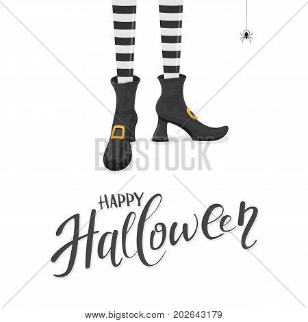 Lettering Happy Halloween with witches leggs in shoes and spider on white background, illustration.