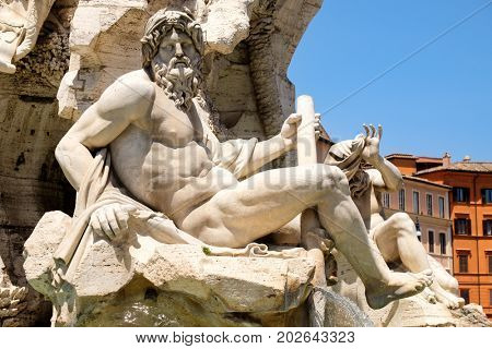 Detail of the Fountain of the Four Rivers at Piazza Navona in central Rome