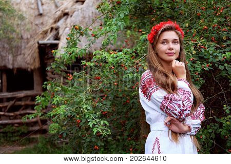 Beautiful slavonic girl with long blond hair and blue eyes with flower crown in white and red embroidered costume at the gate looking welcome.Traditional clothes of Ukrainian region.