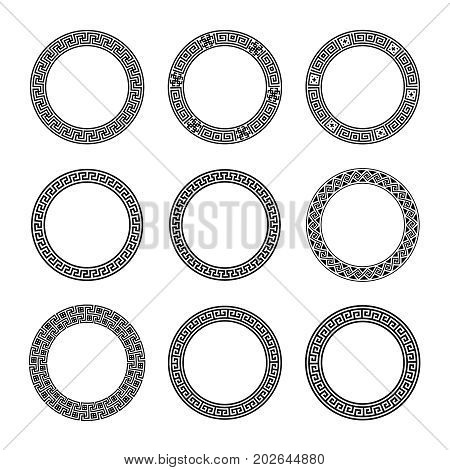 Ethnic set collection. Antique geometric borders in black color on the white background. Greek round frames. Vector illustration