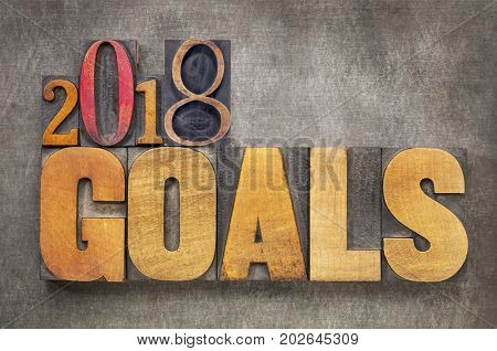 2018 goals - New Year resolution concept - word abstract in vintage letterpress wood type blocks against grunge metal background