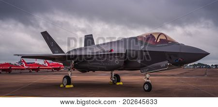 Lockheed Martin F-35 Lightning II on July 10, 2016 at the Royal International Air Tattoo at RAF Fairford, Gloucestershire, UK.