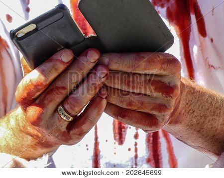Concept terror bloody fingers male concept terrorist act