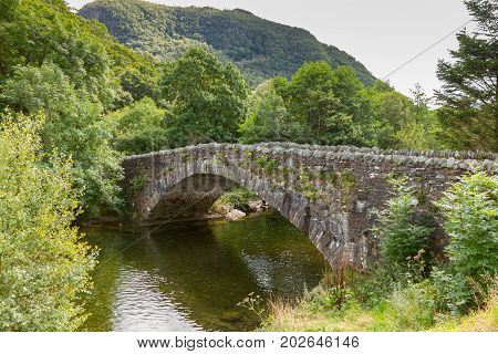 Bridge over the river Derwent at Grange in Borrowdale near Keswick in the northern English Lake District