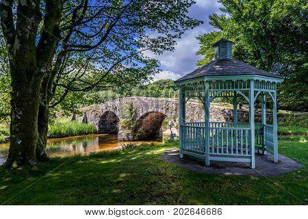 Gazebo and Bridge at Two Bridges Dartmoor England UK