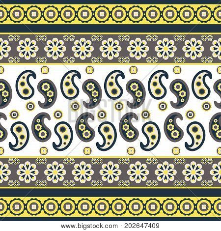Paisley flower pattern seamless row vector. Blue, gray and yellow indian ethnic floral texture for textile, fabric print and clothes.